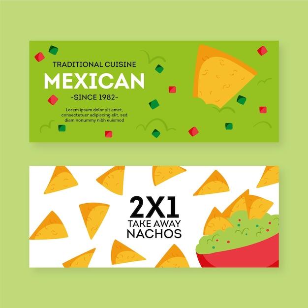 Mexicaans restaurant banner ingesteld sjabloon Gratis Vector