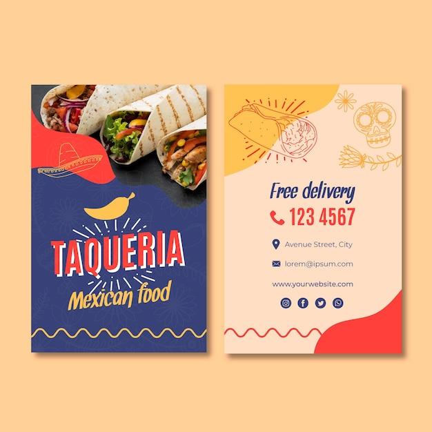 Mexicaans restaurant dubbelzijdig visitekaartje Premium Vector