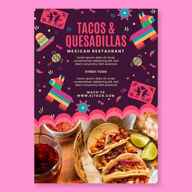 Mexicaans restaurant eten sjabloon folder Gratis Vector