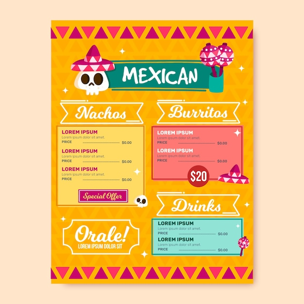 Mexicaans restaurant menusjabloon Gratis Vector