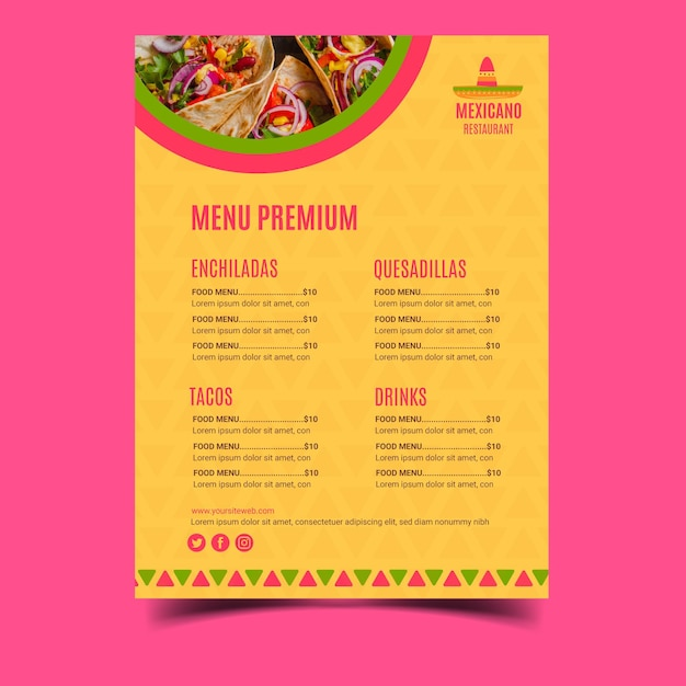 Mexicaans restaurant menusjabloon Premium Vector