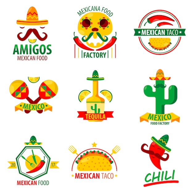 Mexicaans voedsel logo emblemen vector poster op wit Premium Vector