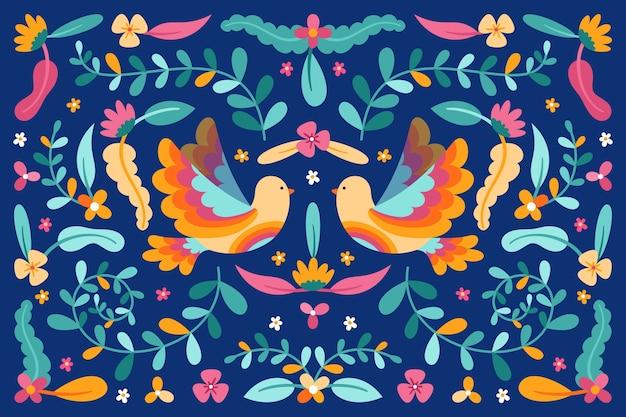 Mexicaanse achtergrond met bloemen en vogels Gratis Vector