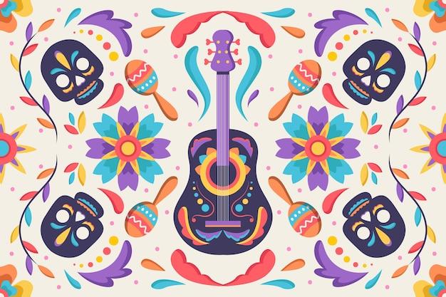 Mexicaanse achtergrond met schedels en gitaar Gratis Vector