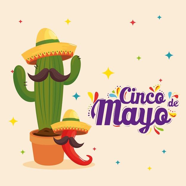 Mexicaanse cactusspaanse peper met hoeden en snorren van cinco de mayo Premium Vector