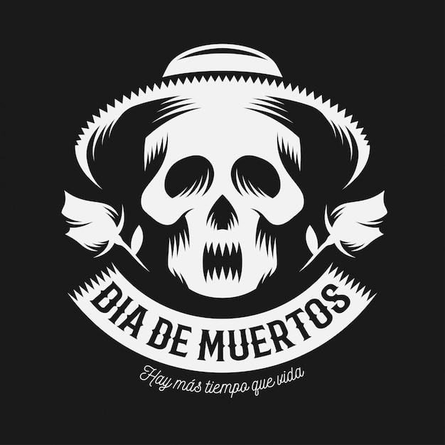 Mexicaanse dag van de dode zwart-wit afbeelding. Premium Vector