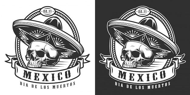 Mexicaanse dag van de dood zwart-wit logo Gratis Vector
