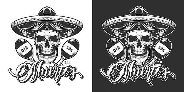 Mexicaanse day of dead vintage print Gratis Vector