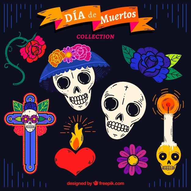 Mexicaanse elementen met handgetekende stijl Gratis Vector