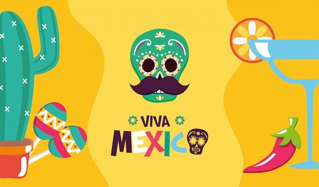 Mexicaanse elementen voor viva mexico Gratis Vector
