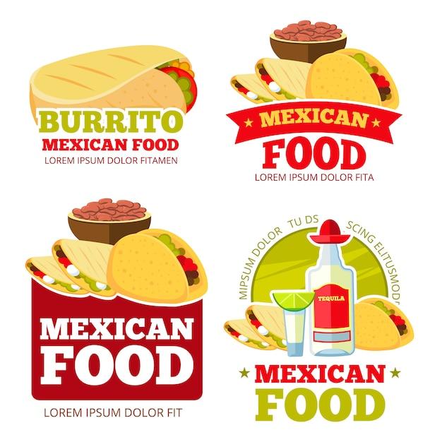 Mexicaanse emblemen van het voedselrestaurant geplaatst Premium Vector