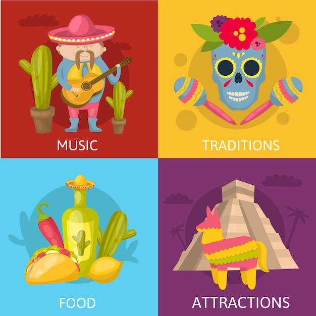 Mexicaanse gekleurde samenstellingen vier vierkant die pictogram met het voedsel van muziektradities en de vectorillustratie van aantrekkelijkhedenbeschrijvingen wordt geplaatst Gratis Vector