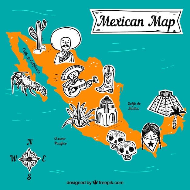Mexicaanse kaart met elementen achtergrond Gratis Vector