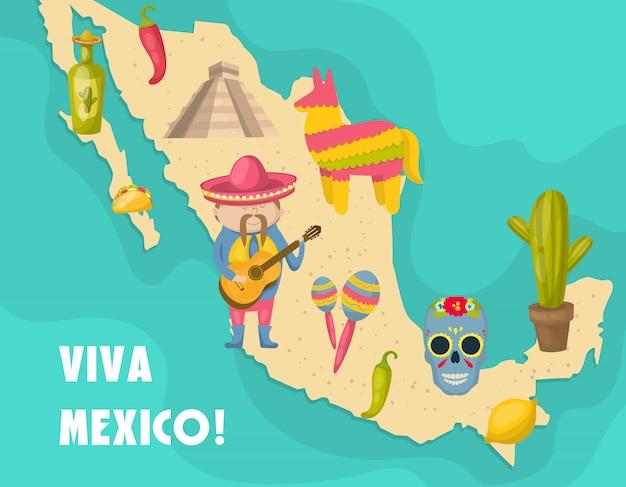 Mexicaanse kaart met figuur van mexicaan die een gitaar speelt en onderscheidende kenmerken van de land vectorillustratie Premium Vector