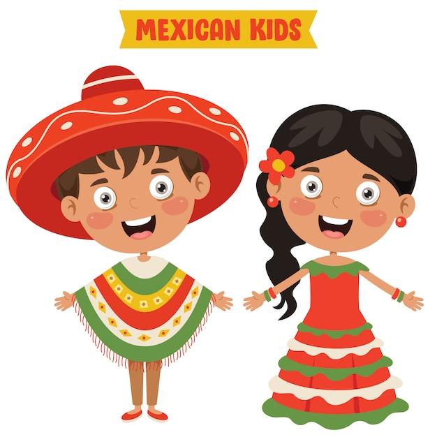 Mexicaanse kinderen traditionele kleding dragen Premium Vector