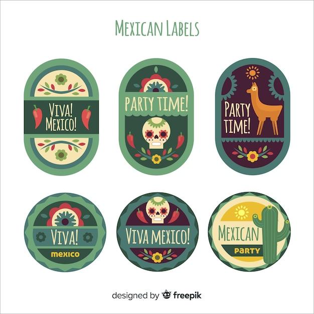 Mexicaanse labelcollectie Gratis Vector