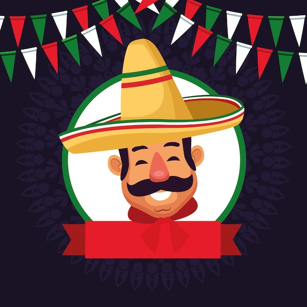 Mexicaanse man gezicht avatar pictogram cartoon Gratis Vector