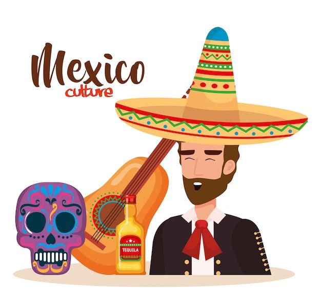 Mexicaanse mariachi met set iconen karakter Premium Vector