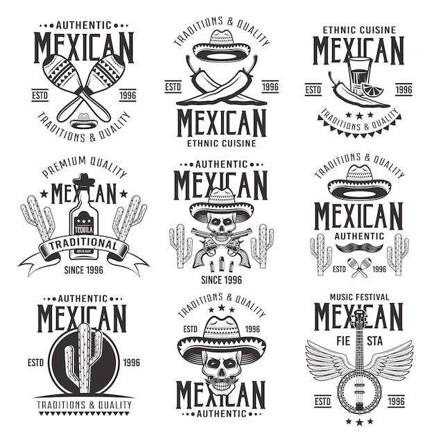 Mexicaanse nationale kenmerken, set van authentieke tekens, emblemen, etiketten, insignes en logo's in zwart-wit vintage op witte achtergrond Premium Vector