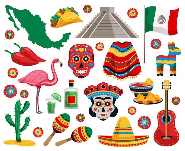 Mexicaanse nationale symbolen cultuur voedsel muziekinstrumenten souvenirs kleurrijke objecten collectie met tequila tacos maskeren sombrero Gratis Vector