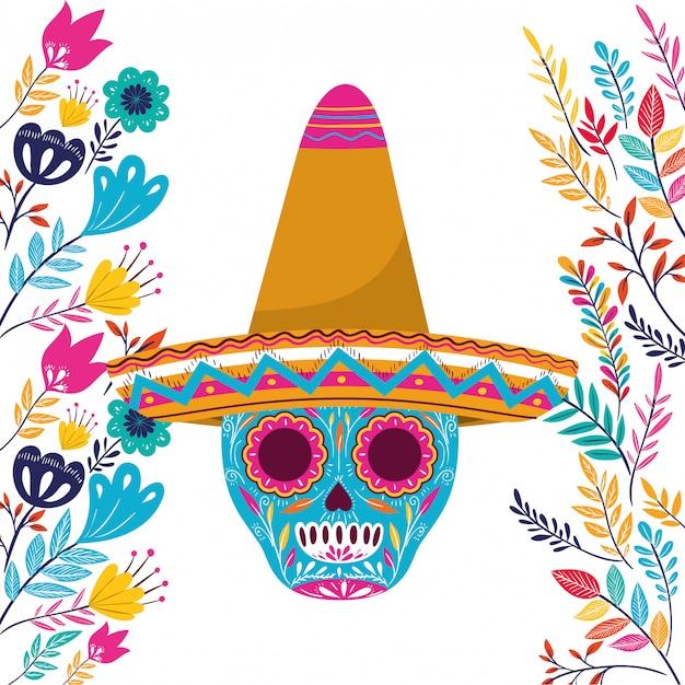 Mexicaanse schedel met hoed op wit Premium Vector