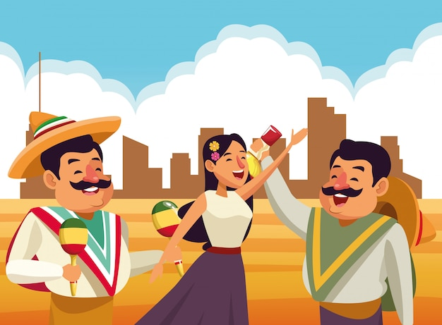 Mexicaanse traditionele cultuur pictogram cartoon Gratis Vector
