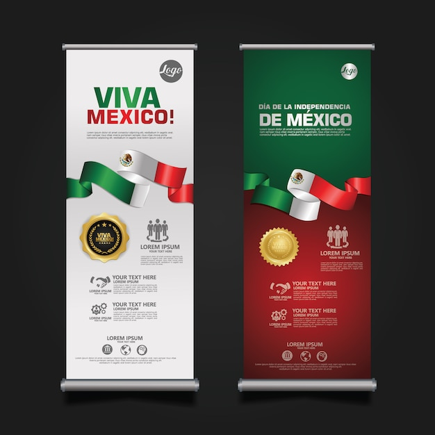 Mexico independence day celebration, roll-up banner set sjabloon. Premium Vector
