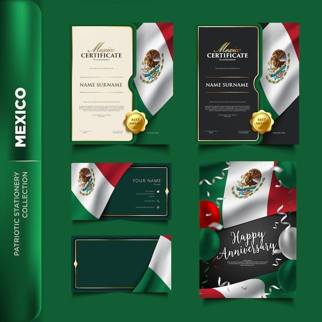 Mexico patriottische briefpapier collectie Premium Vector