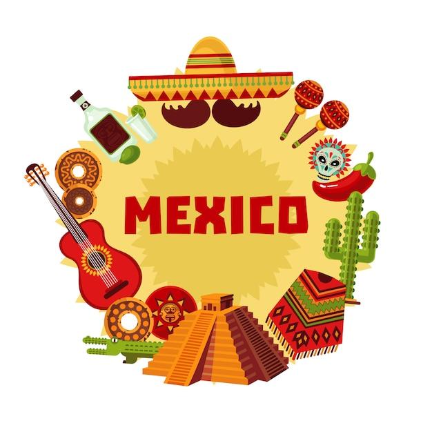 Mexico pictogrammen rond concept Gratis Vector