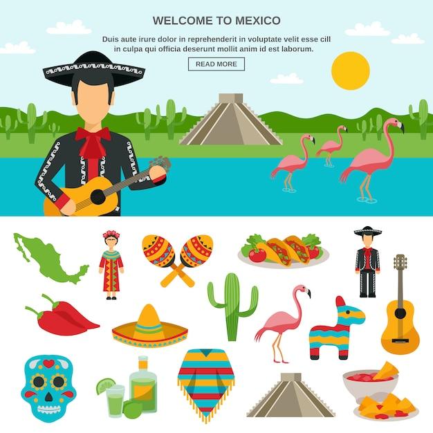 Mexico platte pictogram Gratis Vector