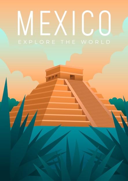Mexico reizend posterontwerp geïllustreerd Gratis Vector