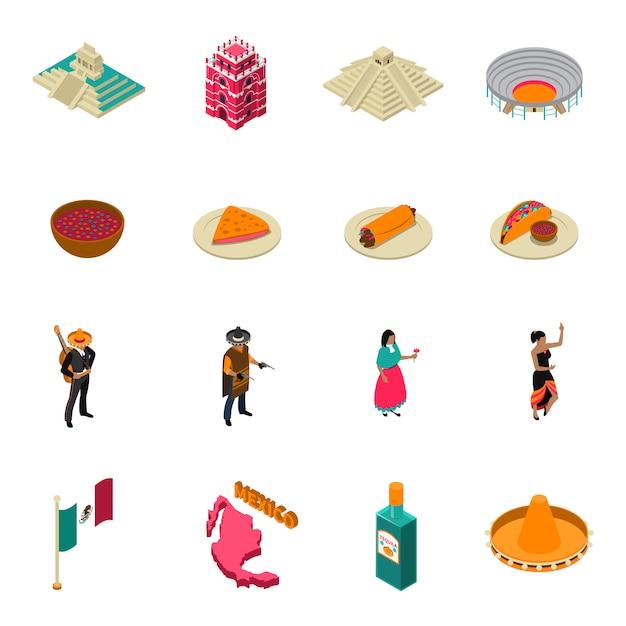 Mexico toeristische bezienswaardigheden isometrische iconen collectie Gratis Vector