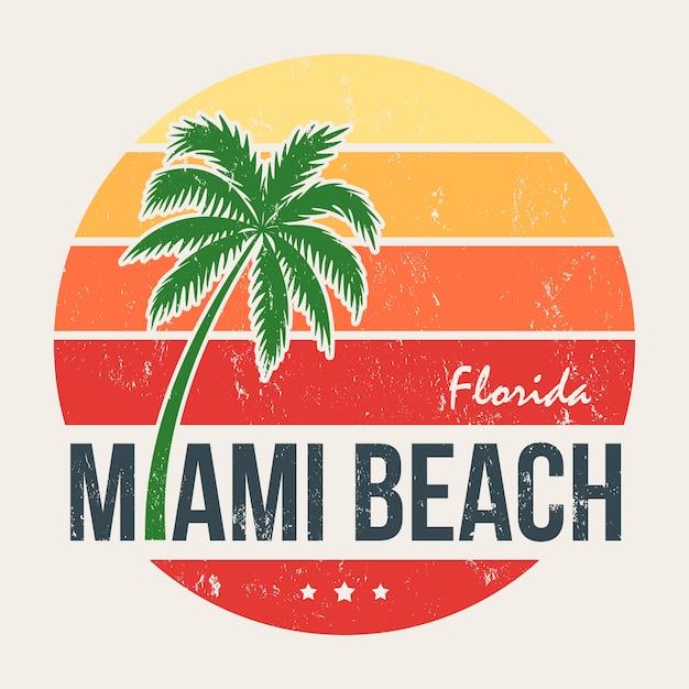 Miami beach florida tee print met palmboom Premium Vector