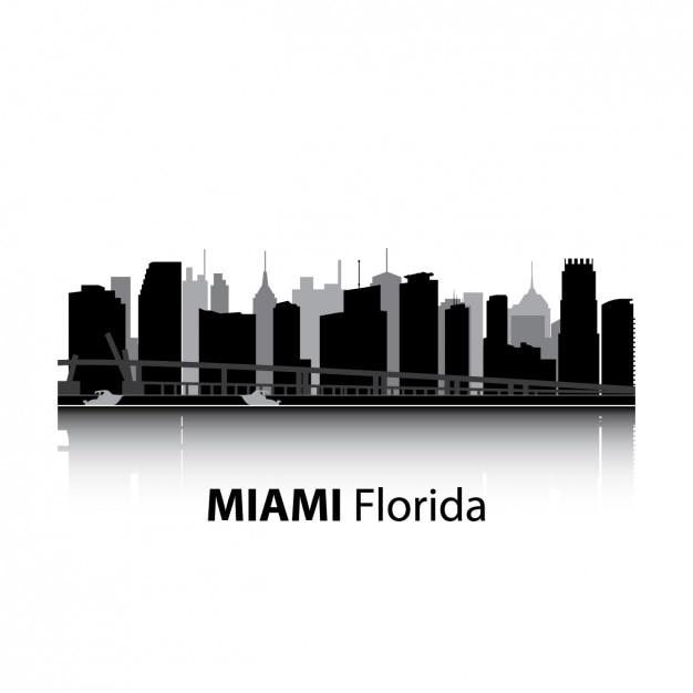 Miami skyline ontwerp Gratis Vector