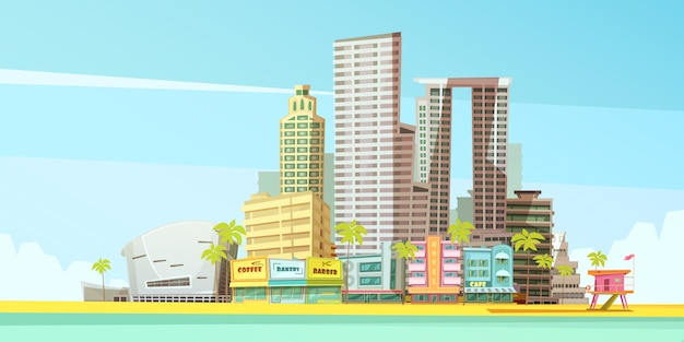 Miami skyline ontwerpconcept voor zakelijke reizen en toerisme presentatie Gratis Vector