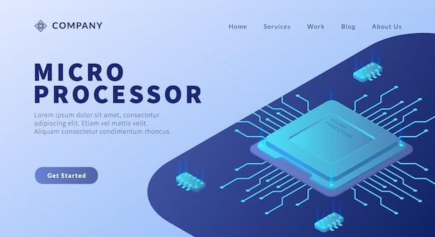 Micro processor kern met circuit link Premium Vector
