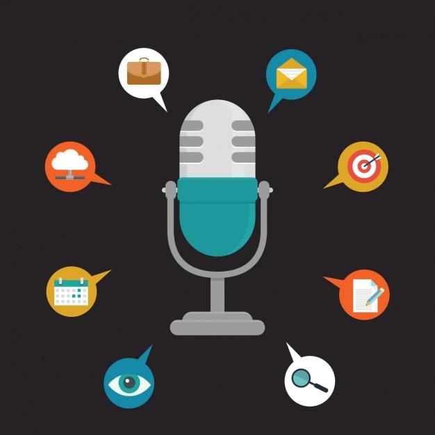 Microfoon achtergrond ontwerp Gratis Vector