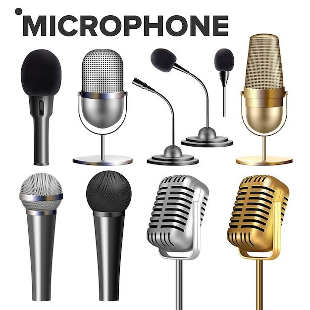 Microfoon ingesteld op wit Premium Vector