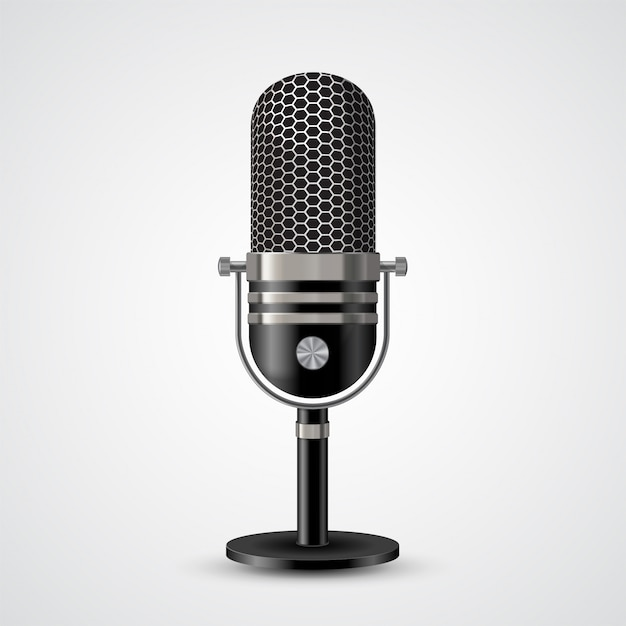 Microfoon op wit Premium Vector