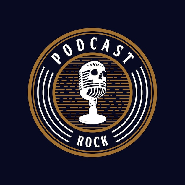 Microfoon schedel podcast rock Premium Vector