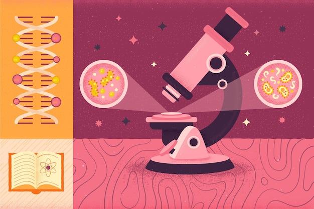 Microscoop en dna terug naar school concept Gratis Vector