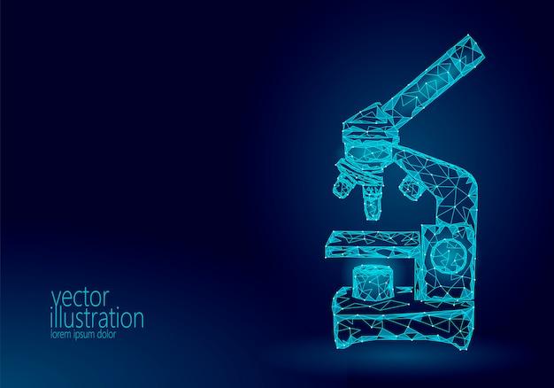Microscoop wetenschap geneeskunde zakelijke apparatuur. laag poly veelhoekig Premium Vector