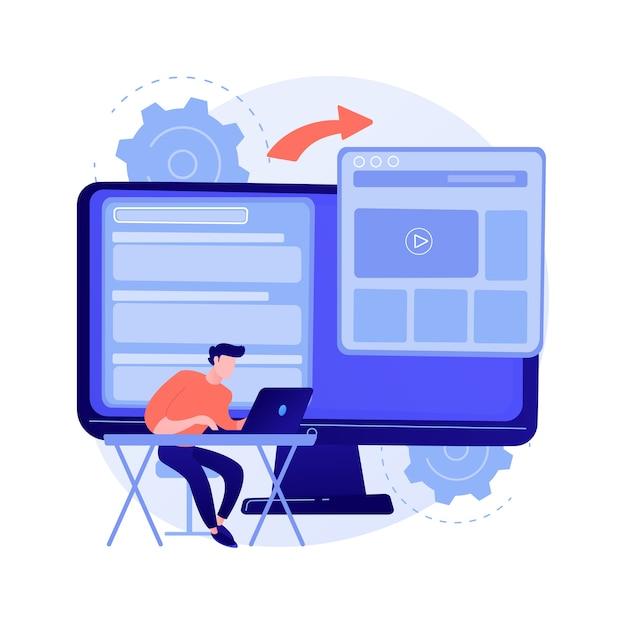 Microsite ontwikkeling abstract concept vectorillustratie. microsite-webontwikkeling, kleine internetsite, grafische ontwerpservice, bestemmingspagina, abstracte metafoor van het softwareprogrammeringsteam. Gratis Vector