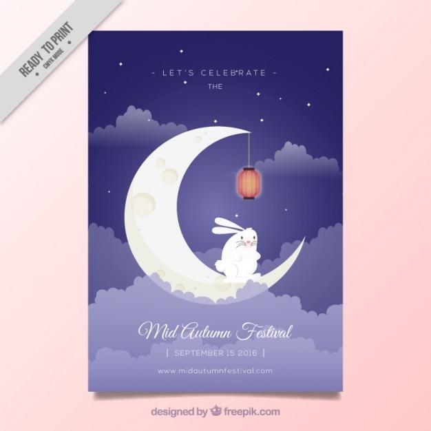 Mid-autumn festival brochure met konijn op de maan Gratis Vector