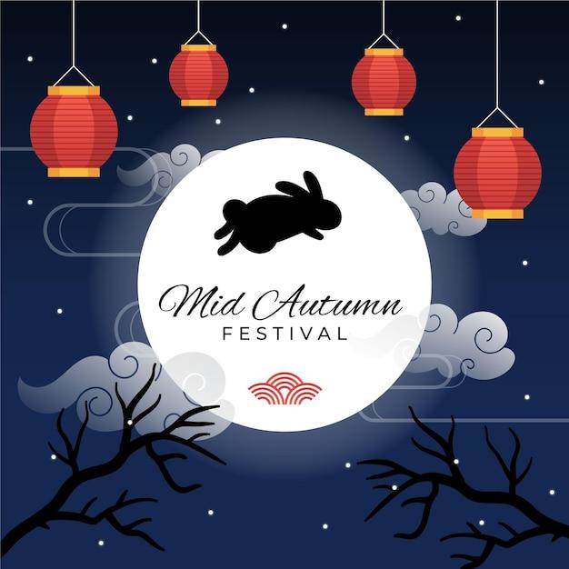 Mid-autumn festival illustratie met lantaarns en konijntje Premium Vector