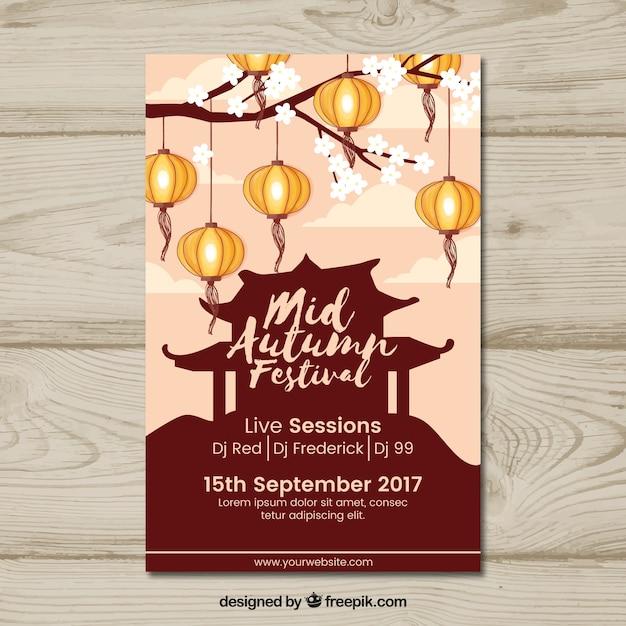 Mid-autumn festival poster Gratis Vector