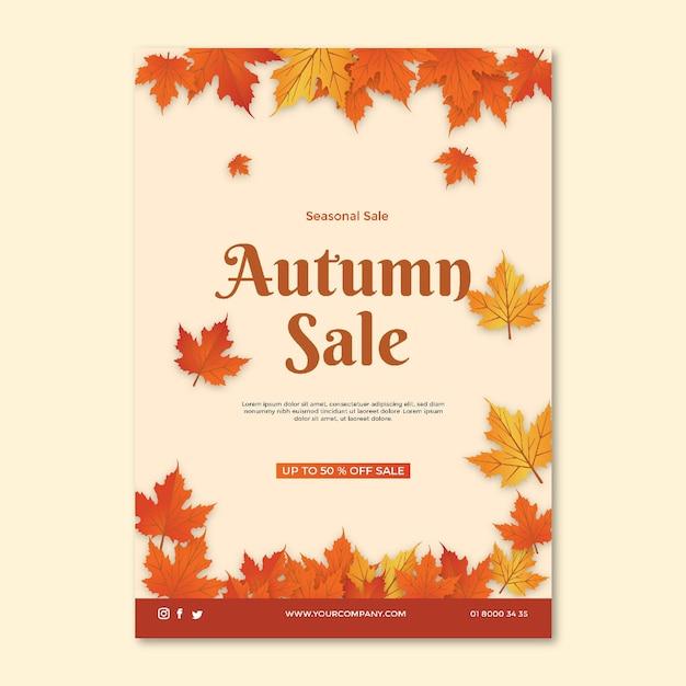 Mid herfst a5 flyer-sjabloon Gratis Vector