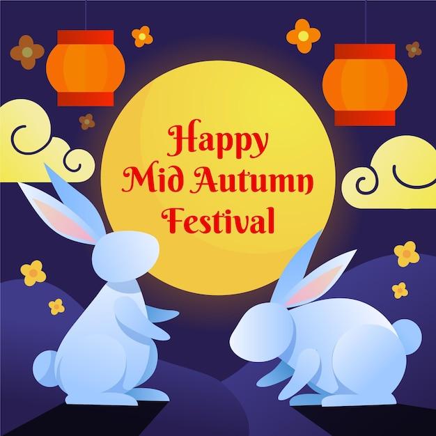 Mid-herfst festival illustratiestijl Premium Vector