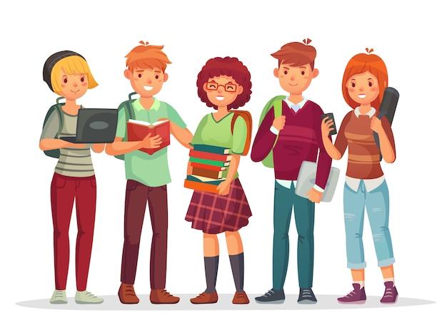 Middelbare scholieren groep. tieners met schoolrugzak stripfiguren Premium Vector