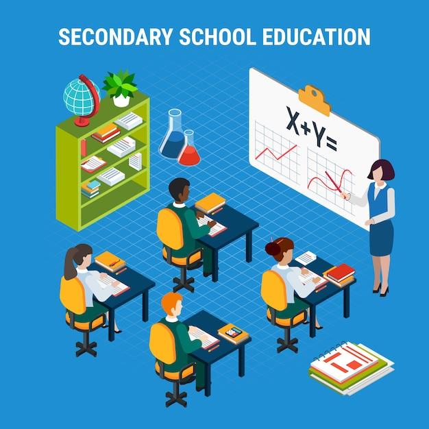 Middelbare school onderwijs illustratie Gratis Vector